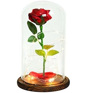 Beauty and the beast light up glass rose
